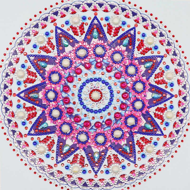 Pintura de diamantes en forma de mandala, flor moderna, patrón DIY, kit de punto de cruz de diamantes de cristal 5D arte Hecho A Mano