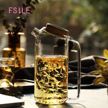 FSILE Simple Fashion Cork Stopper Large Capacity Glass Cooler Heat-resistant Cold Water