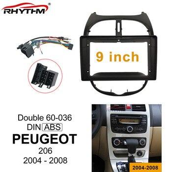 9 дюймов Автомобильная фасция для PEUGEOT 206 2004-2008 двойной Din автомобильный dvd фасции рамка аудио фитинг адаптер Facia панель приборной панели
