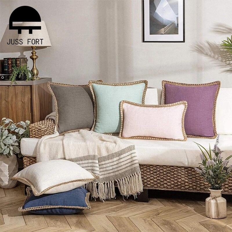 Funda de cojín de lino de color sólido, funda de tela para decoración para sala de estar, sofá, funda de almohada, 1 unidad, 30x50cm/45x4 5cm/50x50cm