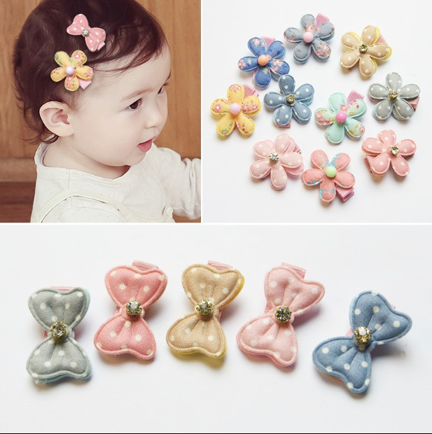 10 Style Baby Girl Floral Print Princess Hairpin New Children's Fabric Hair Clips Imitation Leather Flower Paragraph BB Clip