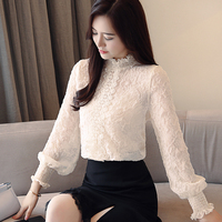 New style Women lace Tops embossing spliced ear Chiffon shirt High necked Lantern sleeve Casual Ruffles lace blouse