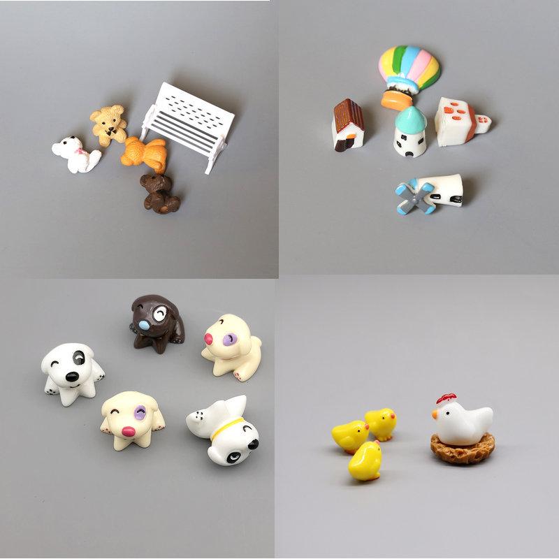 5 pçs bonito mini pintainho coelho vaca ovelhas animais micro jardim de fadas em miniatura terrário suculento decoração ornamentos acessórios