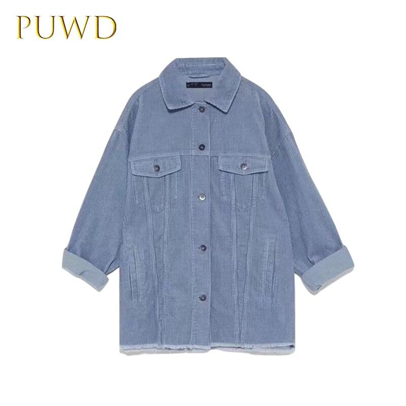 PUWD 2019 Fall New Wicked Velvet Jacket Retro Long Sleeve Pocket Women's Wear
