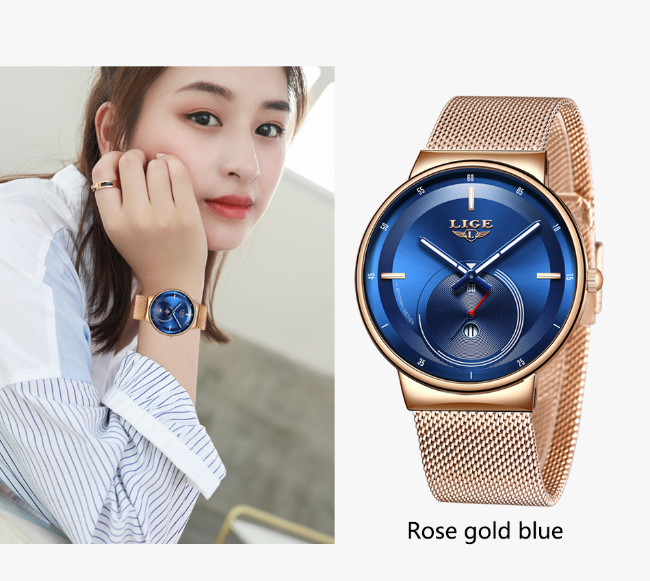Hc572d4bea74f45a8b14716ad995c549fu - Watch Women And Men Watch LIGE Top Brand Luxury Ladies Mesh Belt Ultra-thin Watch Waterproof Quartz Wrist watch Reloj Mujer