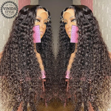 VINIDA STYLE 150% Density Curly Lace Front Human Hair Wigs With Baby Hair Scalp Top Closure Wigs Non-Remy