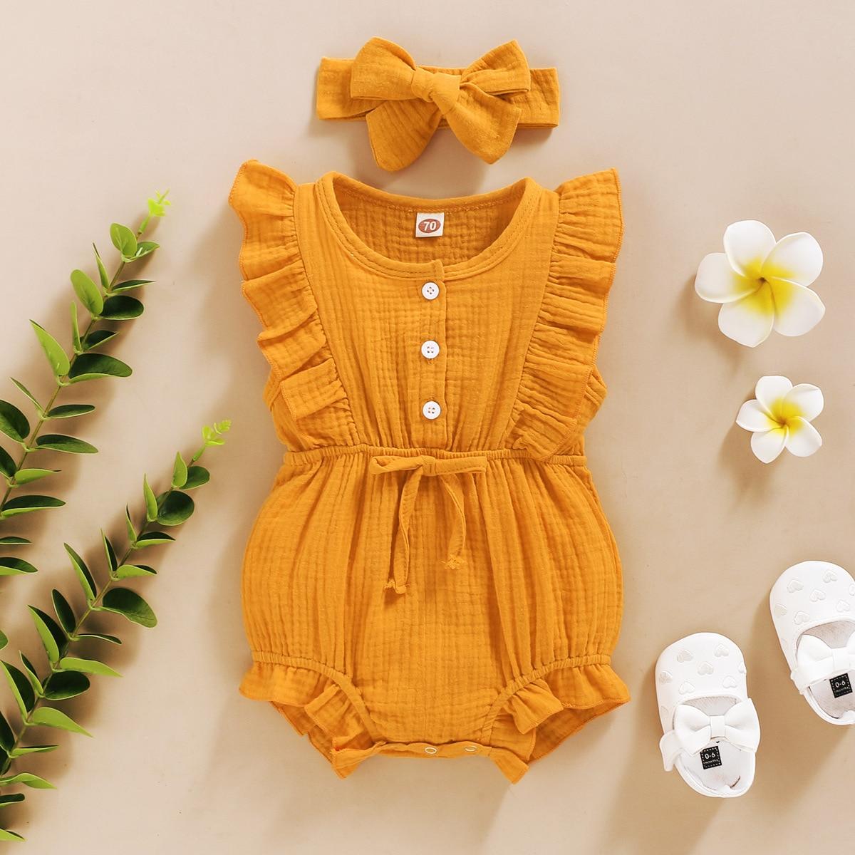 Verão bebê meninas macacão + bandana algodão linho babados sem mangas infantil macacão roupas recém-nascidos