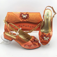 2020 nova chegada de design italiano cor laranja sapatos mulher e saco conjunto africano sapatos de salto baixo e saco de correspondência para o casamento