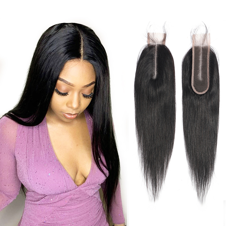 Straight Hair 2x6 Lace Closure Only Peruvian Human Hair Weave 2x6 Closure Straight Pre Plucked with Baby Hair Remy Yarra Hair