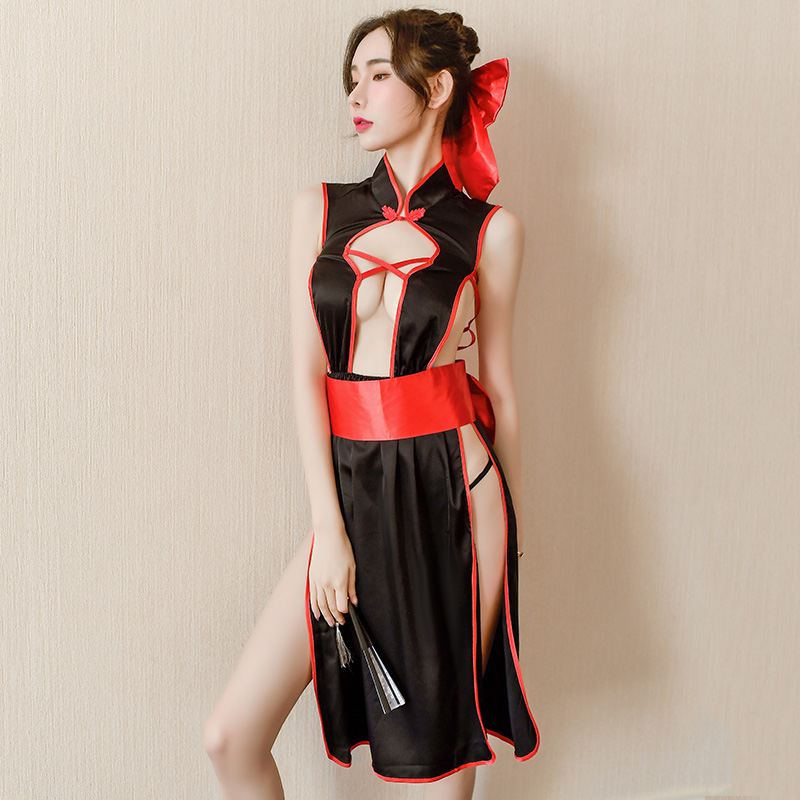 Winter Fire Sexy Cosplay Japanese Style Kimono Anime Dress Uniform Sexy Red Bow Erotic Costumes Cross Back Backless Lingerie