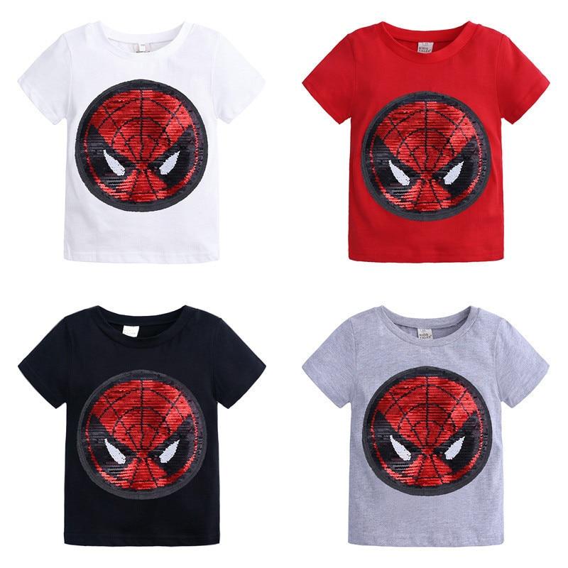 Childrens Boys T Shirt Magic Sequin Reversible For Childrens Girls Cartoon Spiderman Batman T-shirt Kids Cotton Clothing