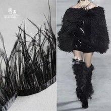 Новинка черное страусиное перо кисточка кружевная отделка «сделай