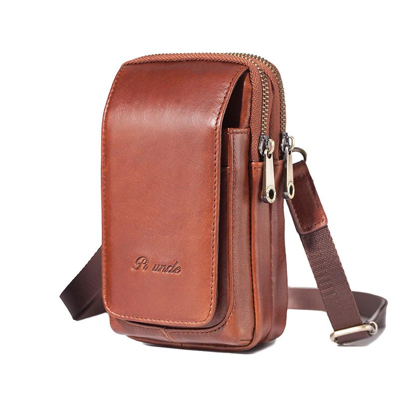 6.5'' Chest Bag Simple Retro Versatile Casual Leather Mini Waist Bag Men Purse Double-deck Cellphone Waist Packs Shoulder Strap
