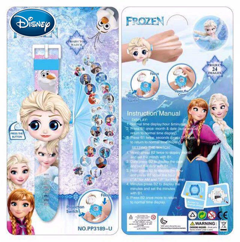 Disney Ice Romance Minnie 3D Children's Projection Watch Cartoon Pattern Watch For Boys Girls LED Display Clock Relogio Gift Toy
