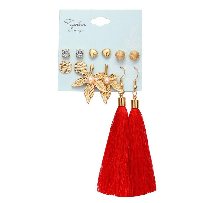 17 км акриловые серьги с кисточками для женщин, богемные серьги, набор больших геометрических висячих сережек Brincos, Женские Ювелирные изделия DIY - Окраска металла: Earrings Set 19