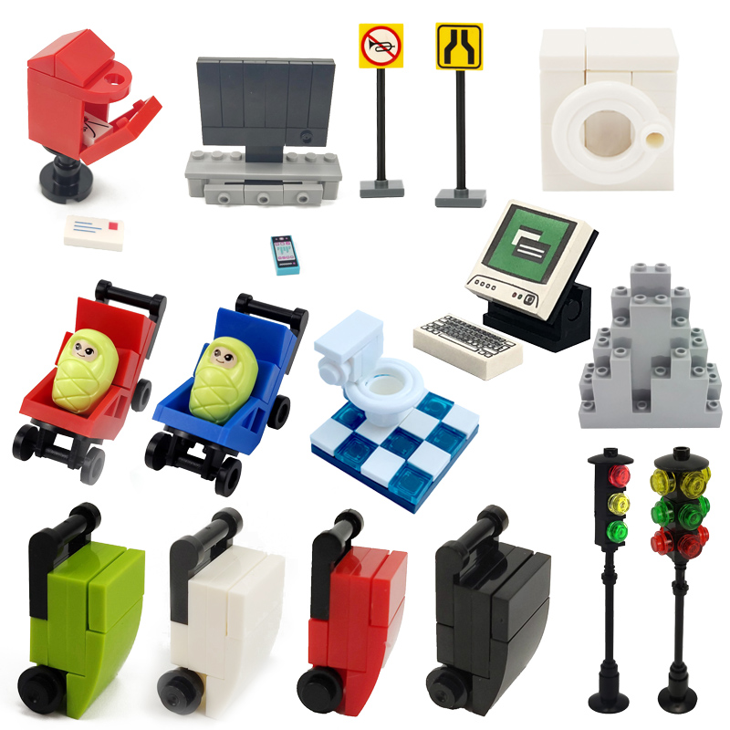 Friends City Computer Traffic Light Baby Carriage Accessories Assemble Building Blocks Girl Friends Kids Toys Creator DIY Model