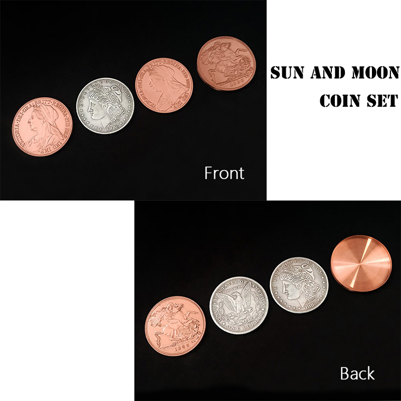 Sun And Moon Coin Set Magic Tricks Coin Transposition Vanish Magia Magician Accessory Close Up Illusions Prop Gimmick Mentalism