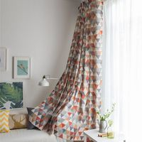 Soft Colorful Cotton Blinds Print line Shading Window Curtains High Quality Black Out Red Curtain for Living Room