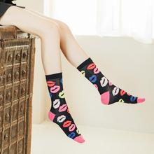 MYT_0208 Autumn Kiss Socks Couple For Women Red Lip Image Bamboo Fiber