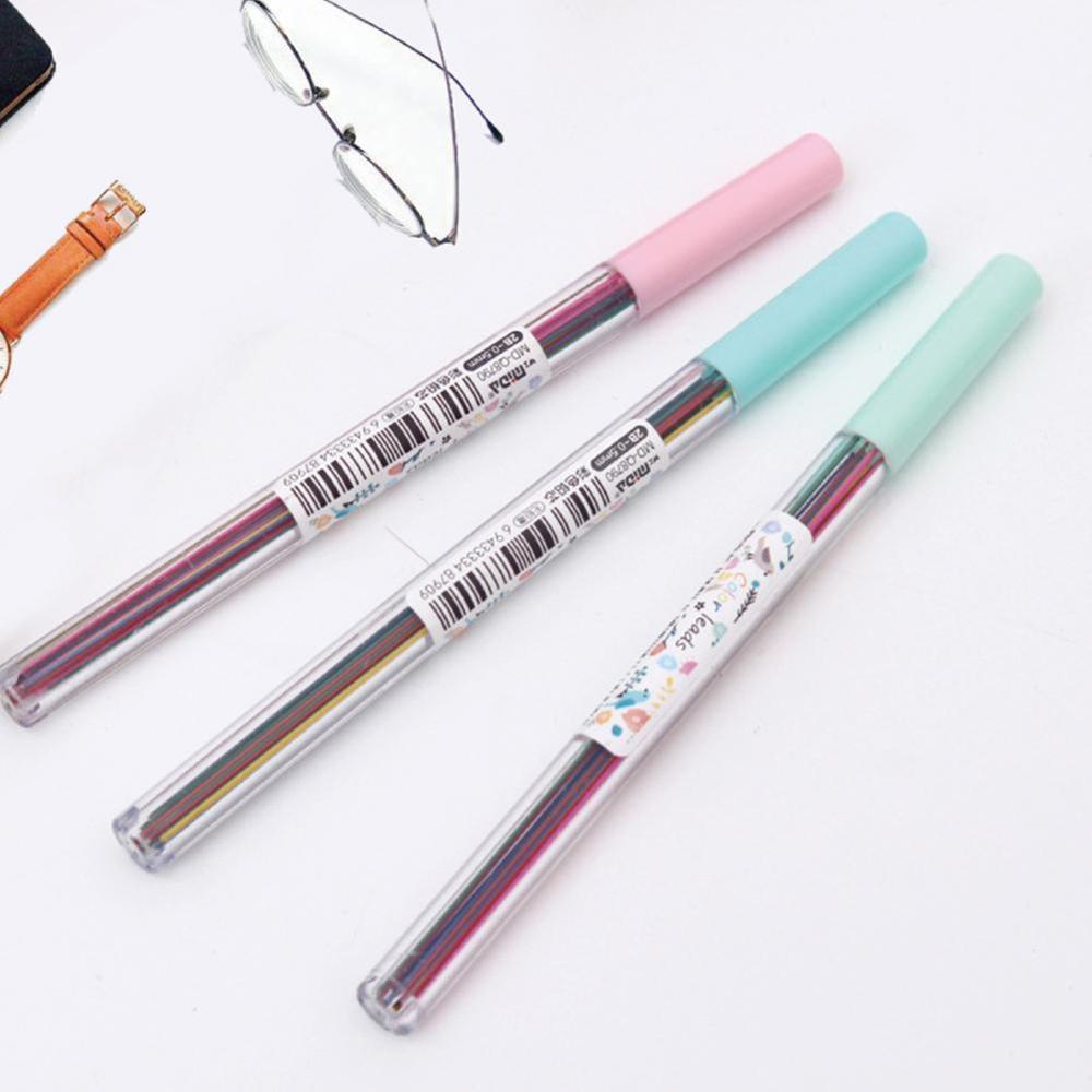 15pcs/set 0.5 /0.7 Mm Colorful Mechanical Pencil Lead Art Sketch Drawing Color Automatic Pencil Lead Refills Ramdom Color 2B