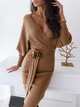 2019 Autumn Women V-Neck Casual Dress Female Leisure Slim Fit Party Dress Surplice Wrap Batwing Sleeve Ribbed Dress ditsy print surplice wrap blouse