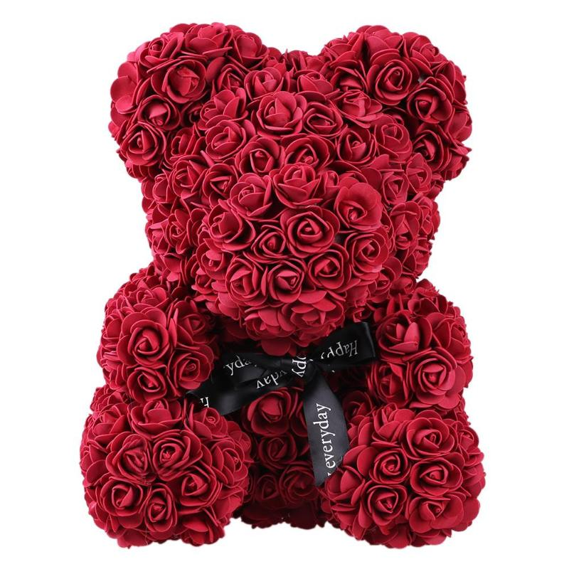 Image 4 - Hot 40cm red flowers Teddy Bear Rose flowers artificial flower rose flower For Women Valentines Wedding Birthday Christmas GiftArtificial & Dried Flowers   -