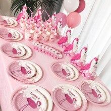 Pink Flamingo Disposable Tableware Set Festa Flamingo Cup Plate Napkins Lets Flamingo Festa Happy Birthday Decor Flamingo Girl