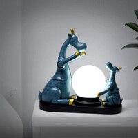 북유럽 사슴 테이블 램프 led 볼 책상 조명 밤 램프에 대 한 따뜻한 사랑 현대 luminarias 홈 아트 장식 전등