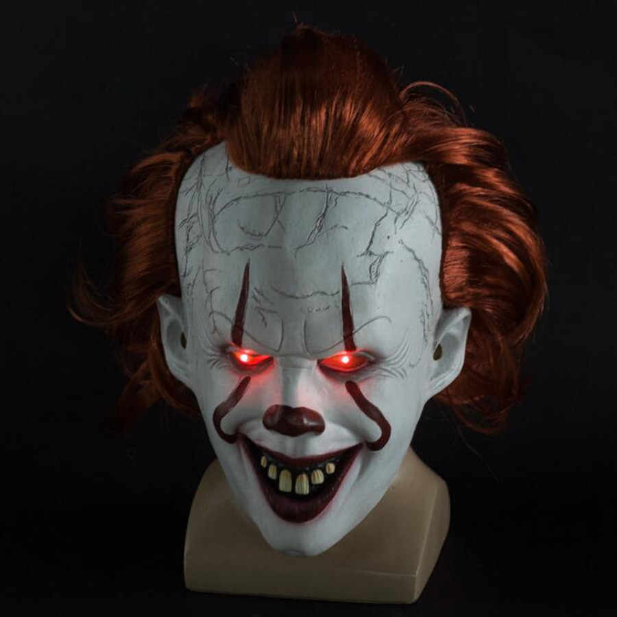 Светодиодный маска клоуна Pennywise Stephen King's It Chapter Two Masque Movie шлем для косплея маски