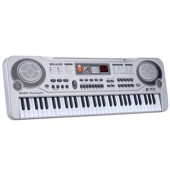 Светодиодный музыкальная игрушка с микрофоном 61 клавиши, электронная клавиатура пианино профессиональные музыкальные образовательные ин...