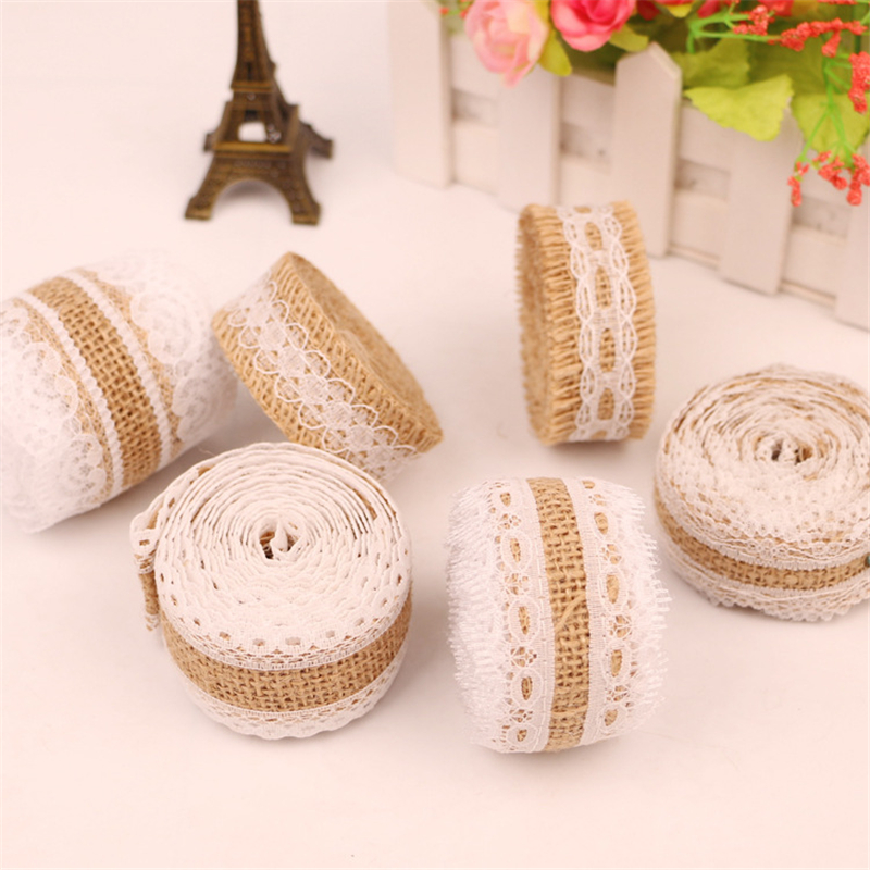 DIY Hand Made Vintage White Lace Jute Fabric Roll Burlap Christmas Event Party Supplies Bouquet Accessories Wedding Decoration