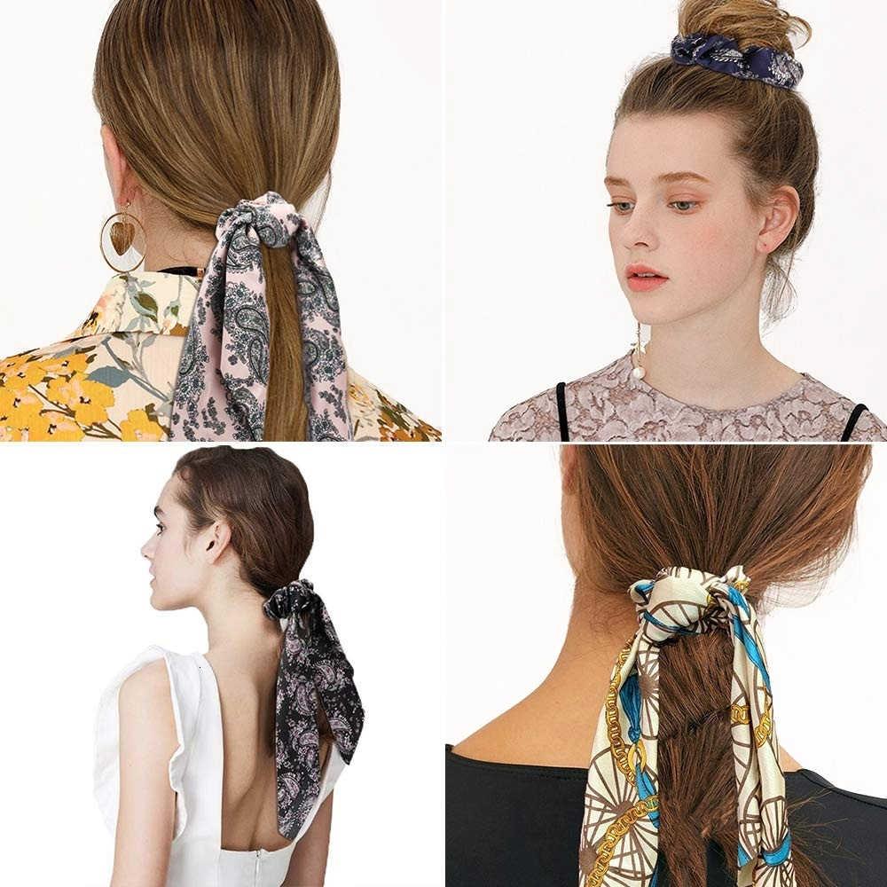 Thời Trang Mùa Hè Đuôi Ngựa Khăn Choàng Thun Tóc Dây Nữ Đầu Dây Thắt Nơ Scrunchie In Hoa Nơ Hairbands Phụ Kiện