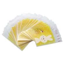 100pcs Pouch bag Yellow Rabbit candy cookies gift bag(China)
