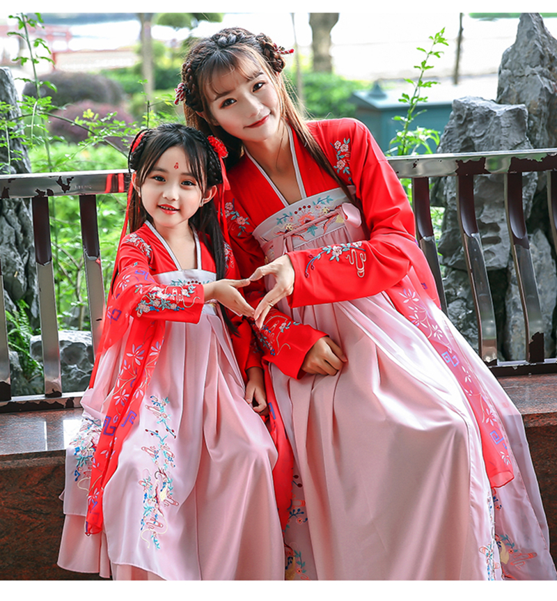 Hanfu girls parent-child Hanfu skirt embroidery Chinese Kid skirt fairy elegant princess Hanfu skirt costume costume Hanfu women