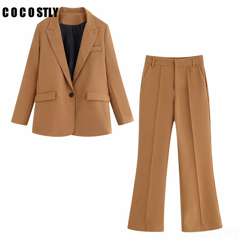 Casual Solid Women Pant Suits Notched Collar Blazer Jacket & Pant Khaki Female Office Lady Suit Autumn 2020 High Quality