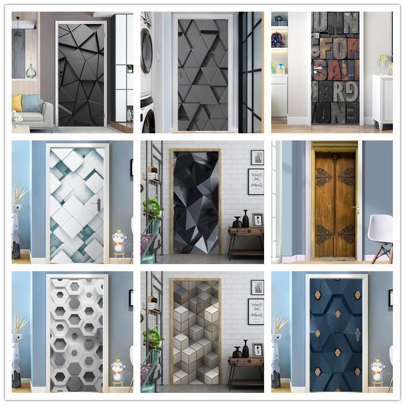 95x215cm Space Geometry Door Sticker Self Adhesive Waterproof Removable Wallpaper Vinyl Wall Decal Posters Home Decor Deurposter