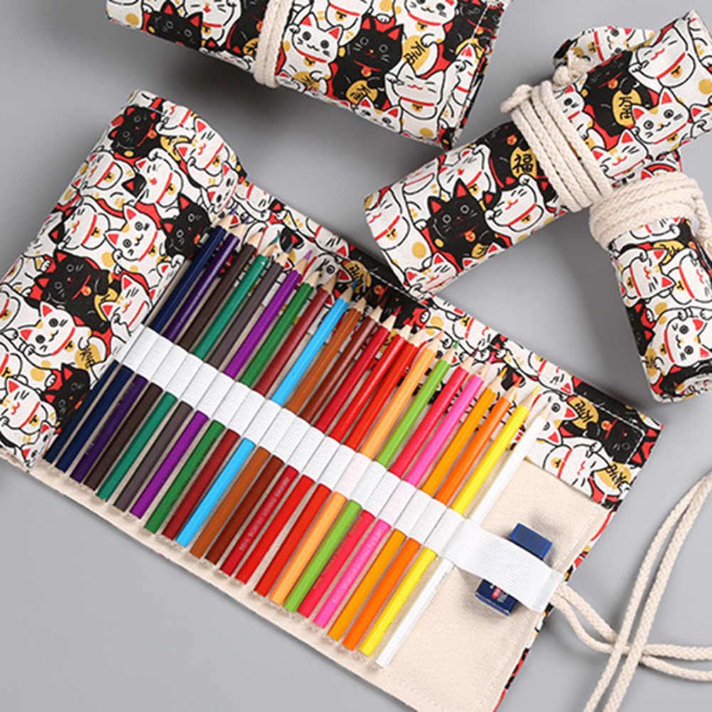 12/24/36 ม้วนกระเป๋าใส่ดินสอ Kawaii ผ้าใบปากกากระเป๋า Penal สำหรับสาวน่ารักขนาดใหญ่ Pencilcase penalties กล่องเครื่องเขียนใหม่