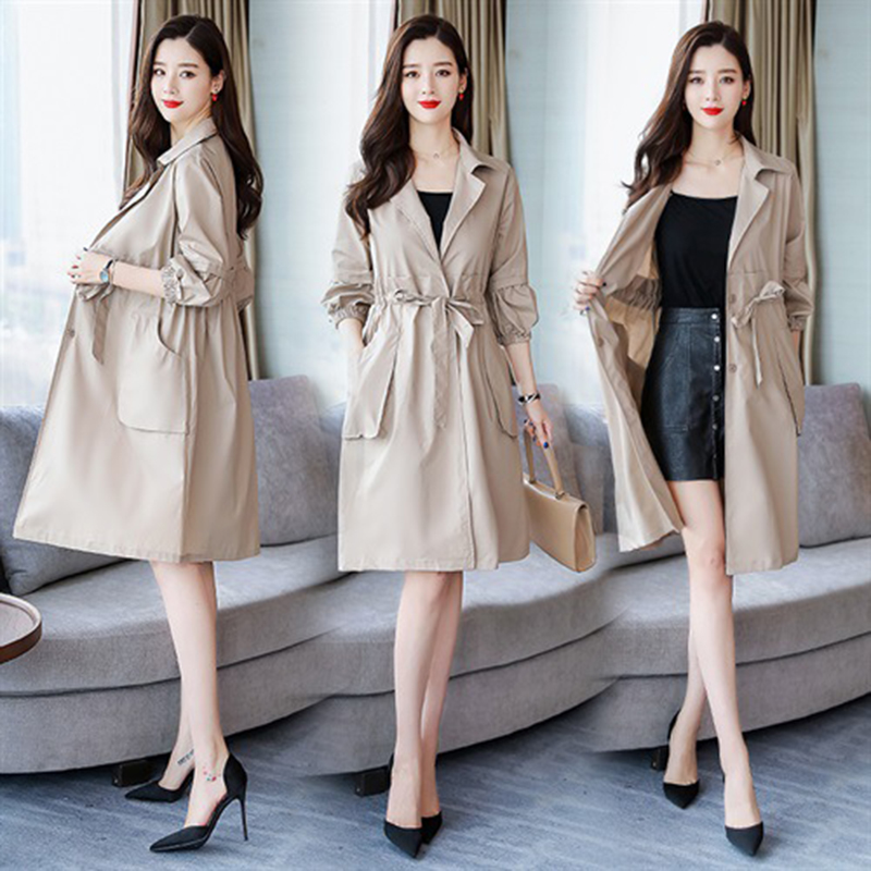 Spring Versatile Fashion Trench Coat Women Slim Temperament Elegant Outwear Lapel Lace-up Windbreaker Women Abrigos Mujer Z884