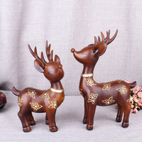 Resin Crafts Blue Plum Couple Deer Decoration Home Living Room Cabinet Decoration Furnishings Creative Gifts