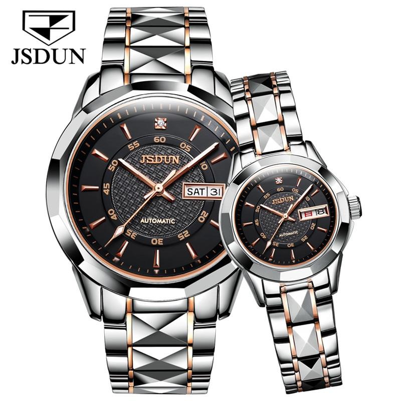 JSDUN Classic Couple Watch Waterproof Automatic Mechanical Watch Imported Movement Tungsten Steel Watch For Men Women Lover Gift
