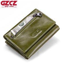 GZCZ Genuine Leather Slim Wallet Women Portafoglio Donna Coin Purse Womens Walet Female Portomonee Zipper Design RFID Blocking