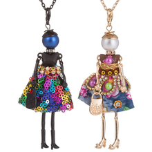 HOCOLE Handmade Shiny Sequins Dress Doll Necklaces Statement Women Fashion Crystal Alloy Long Chain Girls Pendant Necklace