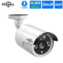 Hiseeu cámara IP de seguridad para exteriores, Audio H.265, 4 unids/lote, 4MP, POE, impermeable, videovigilancia P2P, ONVIF