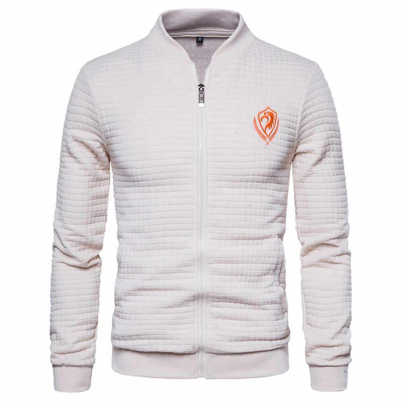 2020 nowa wiosna Eagle haftowana bluza męski kardigan stojak kołnierz Bomber Jacket Men Casual Plaid Zipper męska kurtka sportowa