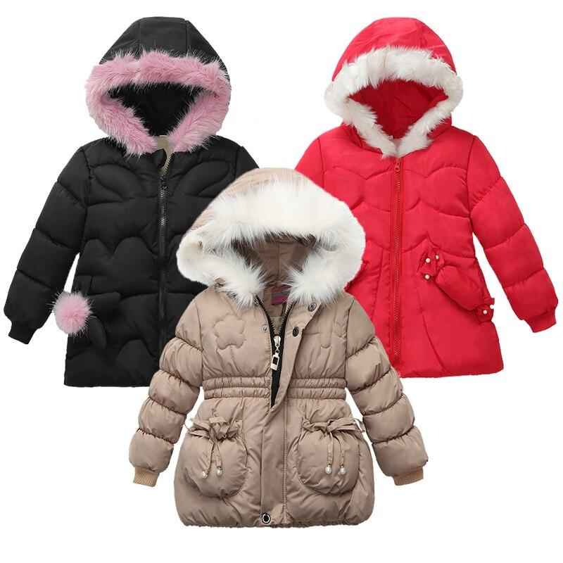 Осенние куртки для девочек, детская одежда, пальто для маленьких детей, зимняя теплая верхняя одежда с капюшоном для девочек, модная Милая утепленная куртка для девочек, шапка Куртки и пальто    АлиЭкспресс