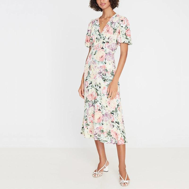 Summer Women's Dress Casual Flower Print V-neck Short-sleeved Slim Dress Vestidos