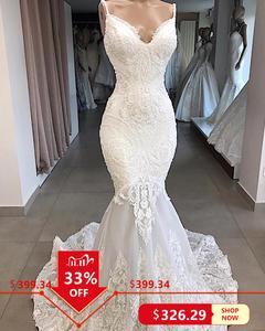 Image 1 - Vestidos De Novia biała syrenka suknia ślubna Backless Sexy dekolt koronkowe suknie ślubne Handmade aplikacje suknia ślubna gelinlik