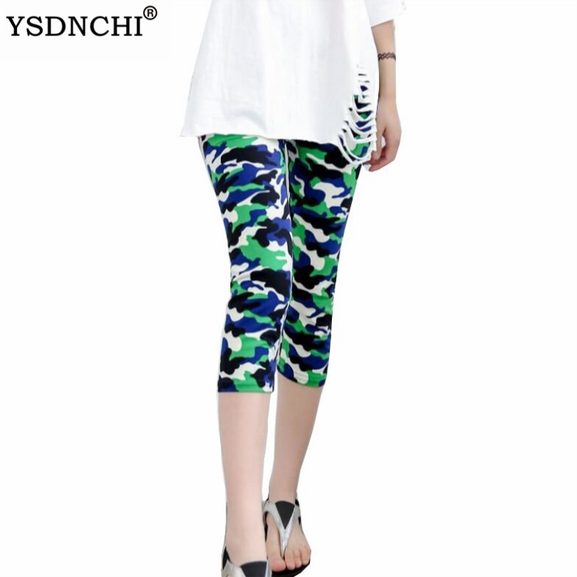 YSDNCHI Camouflage Leggings Fitness Pants Women Leggings Pantalones Print Legging Summer Soft Skin Legins Stripe Womens Capris