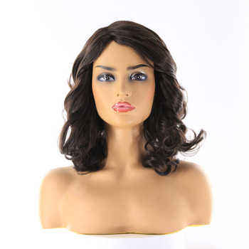 Loose Wave Black Color Synthetic Wigs With Bangs Side Part Heat Resistant Fiber 14
