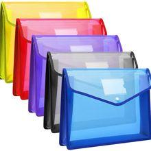 A4 Transparent Lightweight File Bag Portable Waterproof Folder Document Holder Large Capacity Button Storage School Test Paper